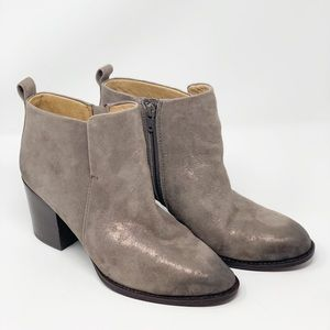 Soft Ware Booties Smoke Suede Metallic Size 8.5